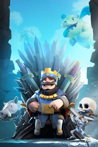 1080x2160 Clash Royale Blue King HD