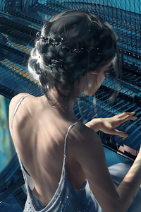1080x1920 Classic Piano Girl Wlop 5k