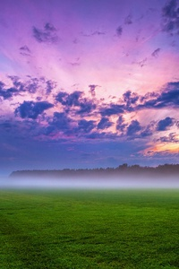 640x960 Cloud Field Fog Grass Landscape 4k