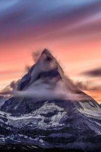 Cloud Mountain Snowcapped 4k