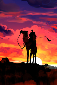 Clouds Dawn Camel Rider Fantasy Illustration 4k