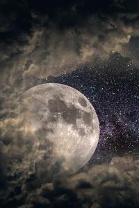 Clouds Moon Universe Stars 5k