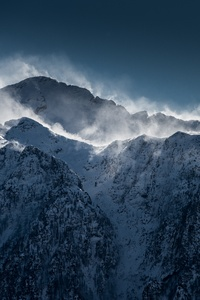 Clouds Over Snow Mountain Range Cliff