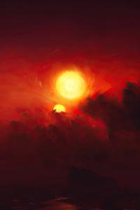 Clouds Red Dark Fantasy Paint Art 4k
