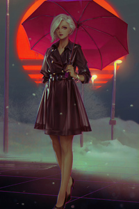 Cold Sunset Girl With Umbrella