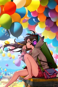1440x2560 Colorful City Anime Girl Blowing Bubbles