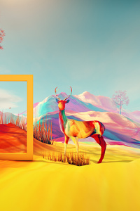 Colorful Digital Art Deer