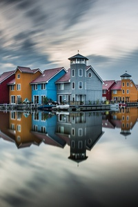 640x1136 Colorful Hut Houses Reflection 5k