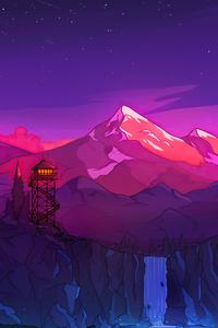 1125x2436 Colorful Mountains Night Minimal 8k