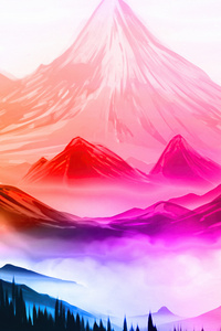 1080x2160 Colorful Nature Mountains Landscape Digital Art 5k