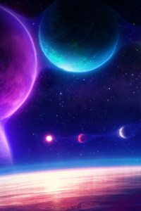 1080x1920 Colorful Planets Chill Scifi Pink 4k