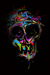 480x854 Colorful Skull Dark Art 4k