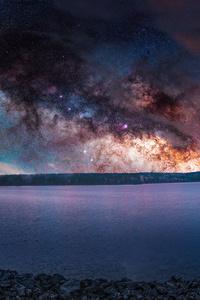 Colorful Sky Stars Landscape Sea