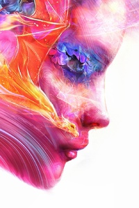 1242x2688 Colorful Women Face Artwork