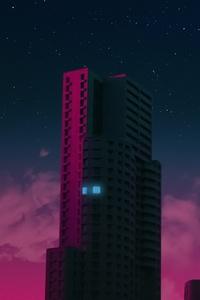 1242x2688 Concrete Buildings Synthwave 5k