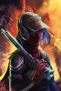 1242x2688 Cool Bounty Hunter Girl With Gun 5k
