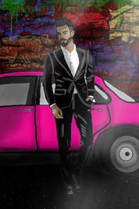 1242x2688 Cool Dude With Pink Car 4k