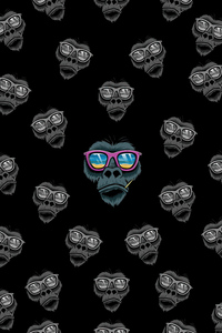 Cool Monkey Dark Minimal 4k