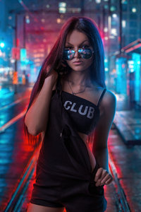 360x640 Cool Sunglasses Girl In Neon Lights Of City