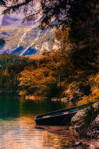 Countryside Beautiful Autumn Season Sunset Boat Landscape Moutains