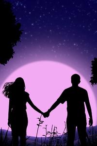 1080x2280 Couple Holding Hands Vector Art 4k