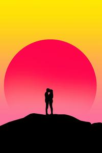 320x480 Couple Kissing Silhouette Digital Art 4k