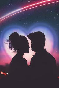 1080x2280 Couple Love Silhouette Closeup 4k
