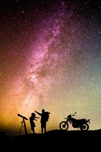 Couple Motorcylist Telescope Aurora Sky