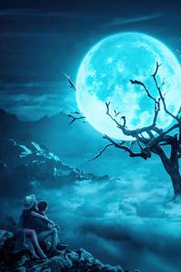 1242x2688 Couple Near Moon Tree