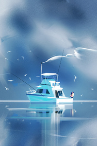 640x1136 Couple On Boat Illustration