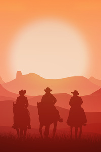 Cowboys Minimalism Landscape 4k