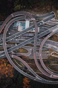 320x480 Crossroads Highway Road Aerial View 4k