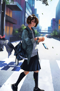 750x1334 Crosswalk Girl 4k