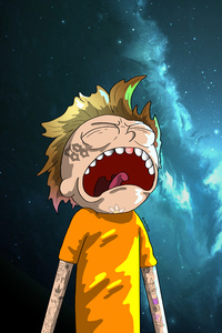 1440x2960 Crying Morty Digital Art