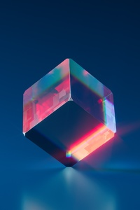800x1280 Crytsal Blue Cube 4k
