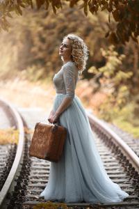 Curly Hair Girl Rail Road 4k