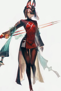 800x1280 Cute Anime Girl With Sword