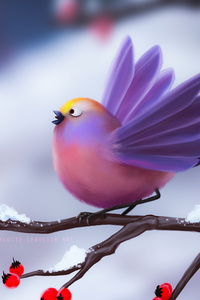 1080x2280 Cute Birds Artwork 4k