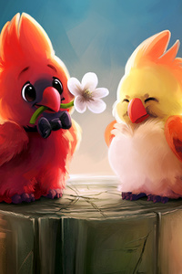 Cute Birds Romance 4k