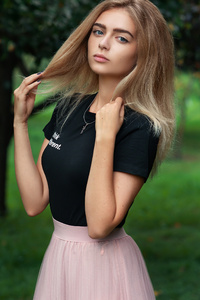 1080x2280 Cute Girl Pink Skirt Necklace 4k