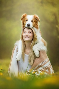 1080x2280 Cute Girl With Dog