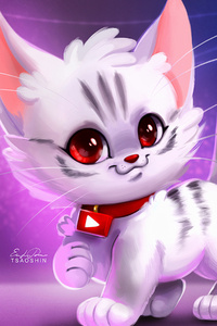 800x1280 Cute Kitty Digital Art