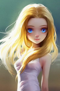 1080x2280 Cute Little Blonde Girl Blue Eyes Digital Art