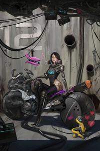 640x1136 Cyber Bike Girl