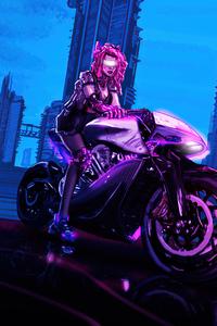 240x320 Cyber Biker Girl 4k