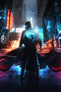1080x2280 Cyber Captain America 5k