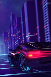 640x960 Cyber Car Neon City