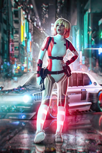 Cyber Cool Girl With Gun And Car 4k