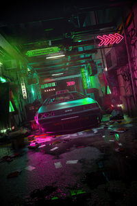 480x800 Cyber DeLorean 4k