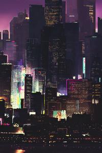 750x1334 Cyber Futuristic Cgi Night 4k